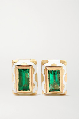 Alice Cicolini Memphis Dot 14-karat Gold, Enamel And Emerald Earrings - one size