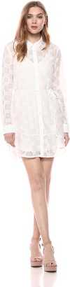 The Fifth Label Women's Long Sleeve Sheer Geometric LACE Shirt Dress