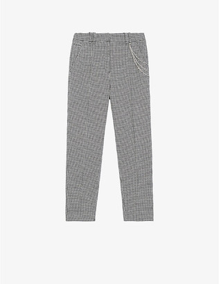 The Kooples Houndstooth-print slim-fit wool-blend trousers