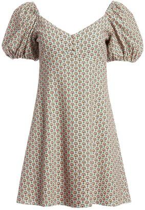 Alice + Olivia Printed Puff Sleeve Mini Dress