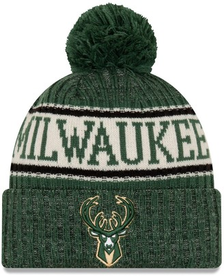 New Era Men's Hunter Green Milwaukee Bucks Sport Cuffed Knit Hat with Pom