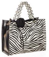 Black Zebra Print Calf Hair and Leather Tote