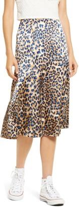 Lulus Global Icon Leopard Print Satin Bias Midi Skirt