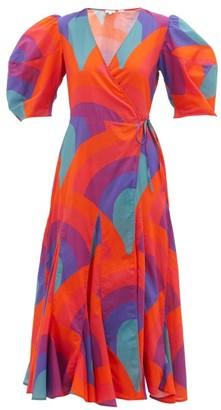 Rhode Resort Fiona Rainbow-print Cotton Wrap Dress - Red Print