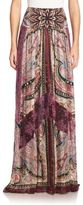 Etro Silk & Lace Maxi Skirt