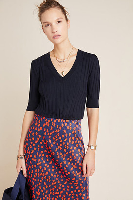 Anthropologie Cecilia V-Neck Sweater Tee By in Blue Size XS