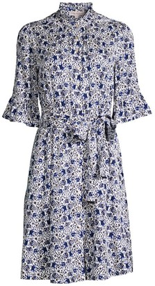 Rebecca Taylor Twilight Floral Ruffle Dress