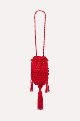 Nannacay Marina Tasseled Crocheted Shoulder Bag - Red