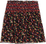 Anna Sui Smocked Printed Silk-crepon Mini Skirt - x small