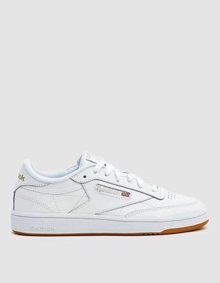 Reebok Women's Club C 85 Sneaker in White/Light Grey/Gum, Size 8.5 | Leather/Rubber/Textile