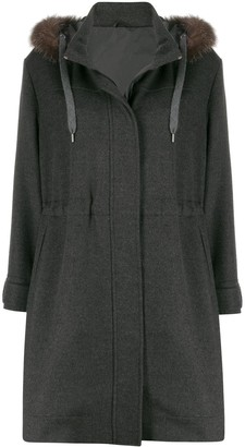 Brunello Cucinelli Faux-Fur Trim Hooded Coat