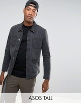 Asos Tall Denim Worker Jacket In Washed Black