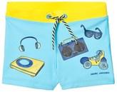 Little Marc Jacobs Blue Printed Icon Swim Trunks SPF 50