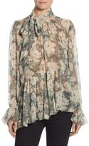 Zimmermann Bowerbird Tie-Neck Floral-Print Silk Blouse