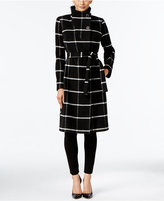 Ivanka Trump Faux-Wrap Plaid Walker Coat