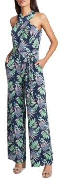 Tahari ASL Cross-Neck Printed Jumpsuit
