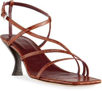 STAUD Gita Strappy Croc-Embossed Kitten-Heel Sandals