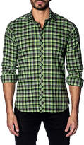 Jared Lang Tattersall-Gingham Flannel Shirt, Green
