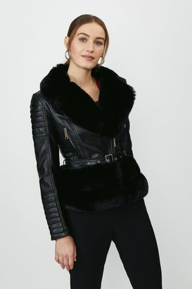 Coast Faux Fur Trim Biker Jacket