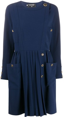 Chanel Pre Owned Side-Buttoned Long-Sleeved Dress