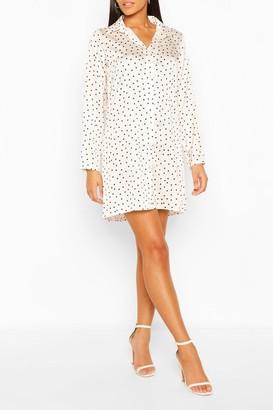 boohoo Satin Polka Dot Shirt Dress