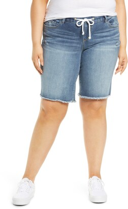 SLINK Jeans Easy Fit Distressed Drawstring Denim Bermuda Shorts