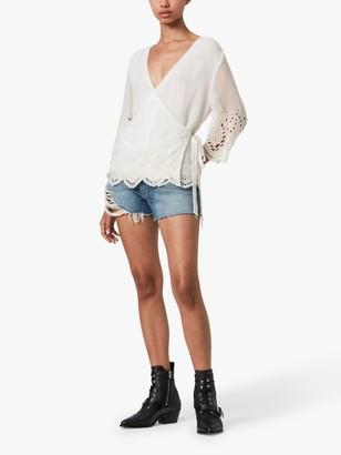 AllSaints Zariah Long Sleeve Floral Lace Top, White