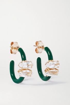 BEA BONGIASCA Vine 9-karat Gold, Enamel And Rock Crystal Earrings - Green