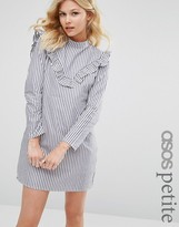Asos Ruffle Front Dress in Cotton Stripe