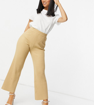 4th & Reckless Petite knit wide leg pants in camel