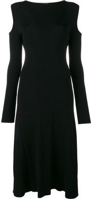 Barbara Casasola Ribbed Cold Shoulder Dress