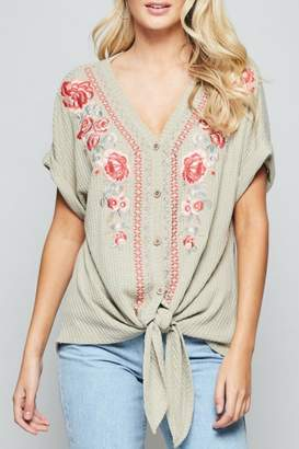Andree By Unit Embroidered Tie-Front Tunic