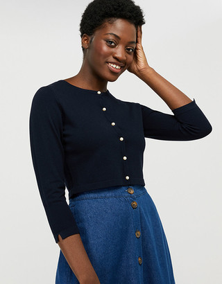 Under Armour Mara Cropped Cardigan with Mock-Pearl Buttons Blue