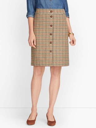 Talbots Plaid Button Front Skirt