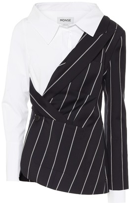 Monse Pinstriped wool and poplin blazer