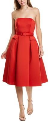 Badgley Mischka Off-The-Shoulder A-Line Dress