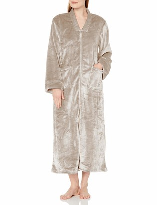 Casual Moments Women's 52 Inch V-Neck Zip Front Robe