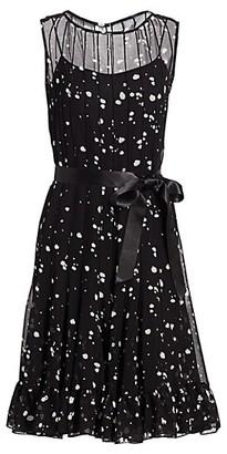 Teri Jon by Rickie Freeman Spotted Chiffon Pintuck Dress