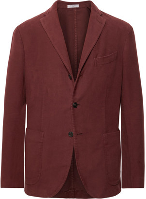 Boglioli Burgundy K-Jacket Slim-Fit Unstructured Cotton-Moleskin Suit Jacket