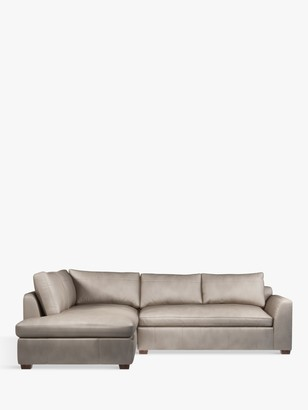 John Lewis & Partners Tortona LHF Chaise End Leather Sofa, Dark Leg