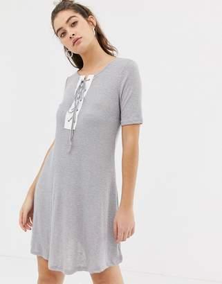 Glamorous lace up front t-shirt dress-Grey
