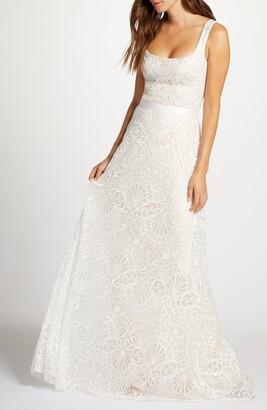 Tadashi Shoji Beaded Lace Wedding Gown