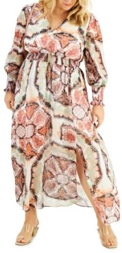 INC International Concepts Inc Plus Size Smocked Puff-Sleeve Maxi Dress, Created for Macy's