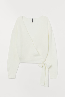 H&M Knit Wrap-front Cardigan - White