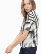 Splendid Black Venice Stripe Cropped Mock Neck Top