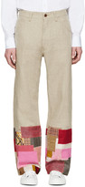 Junya Watanabe Tan Linen Patchwork Levis Edition Trousers
