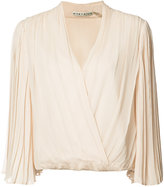Alice + Olivia Alice+Olivia - pleated wrap blouse - women - Silk/Polyester - M