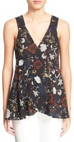 A.L.C. 'Purcell' Floral Print Sleeveless Silk Top