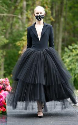 Christian Siriano Tuxedo Bodice Pleated Tulle Tea Length Dress