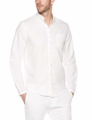 Trimthread Men's Banded Collar Invisiable Button Regular Fit Lightweight Linen Casual Shirt (Medium